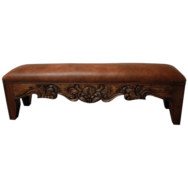 Spanish Colonial Leather Hand Carved Benches bch01