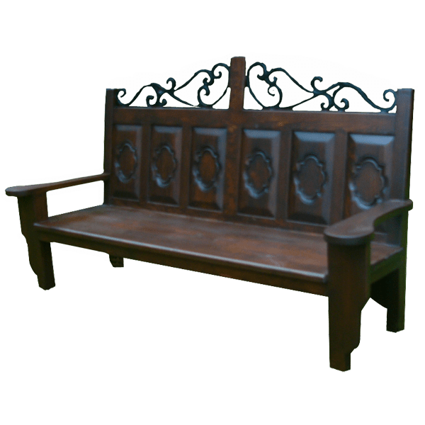 Spanish Colonial Hand Carved Hand forged iron Benches bch06