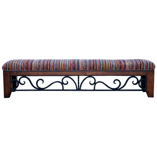 Western Fabric Upholstered Hand forged iron Benches bch08c