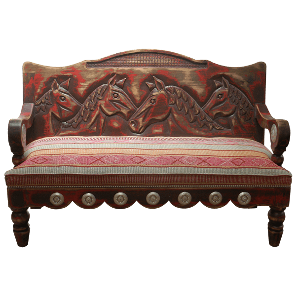 Western Copper Fabric Hand Carved Upholstered Benches bch26a