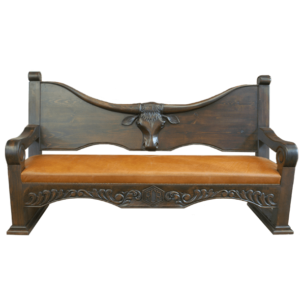 Western Leather Hand Carved Upholstered Benches bch31b