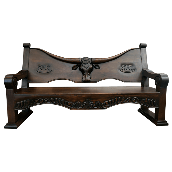 Western Hand Carved Benches bch31g