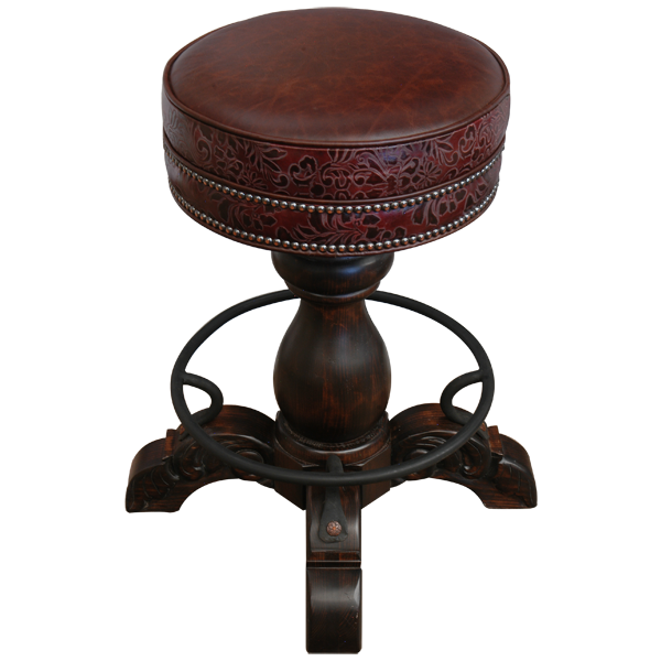 Spanish Colonial Leather Hand Carved Bar Stools bst02b