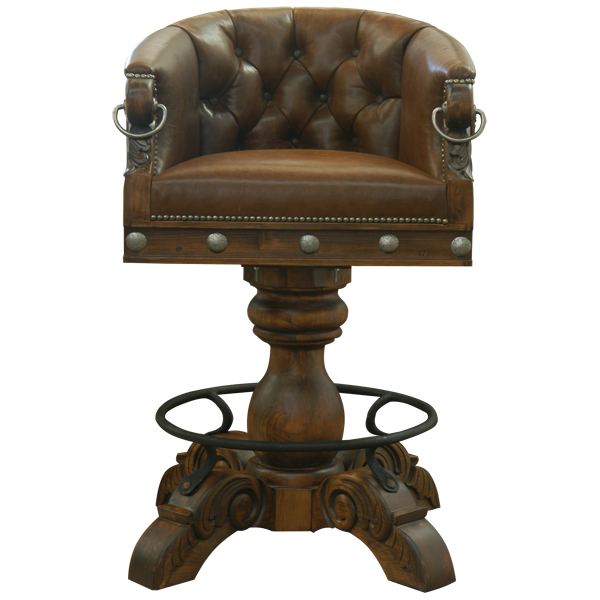 Western Leather Hand Carved Hand forged iron Bar Stools bst18e