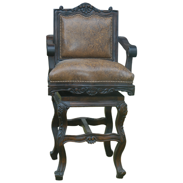 Spanish Colonial Leather Hand Carved Bar Stools bst24a