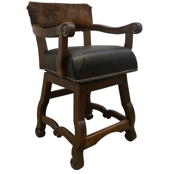 Spanish Colonial Leather Bar Stools bst38a