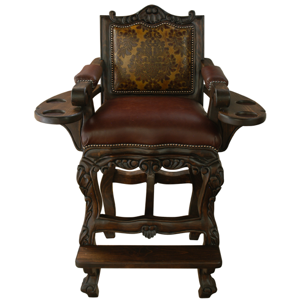 Spanish Colonial Leather Hand Carved Bar Stools bst60