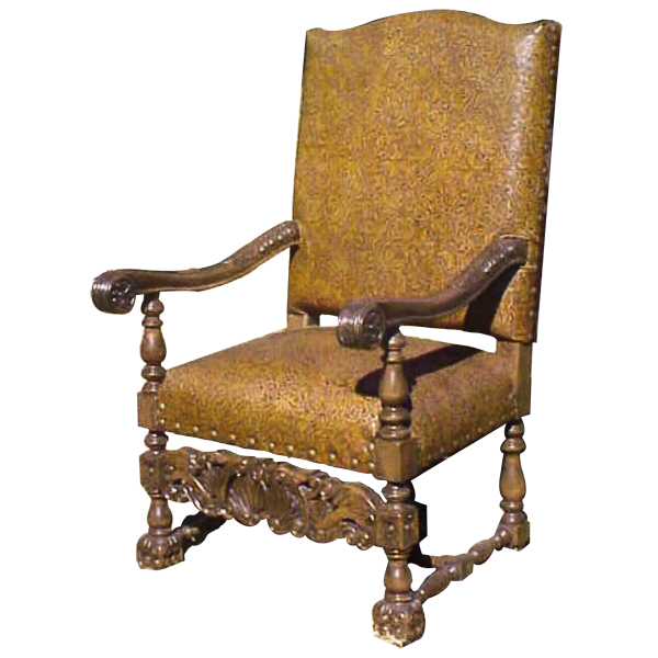 Spanish Colonial Leather Hand Carved Upholstered Chairs chr06