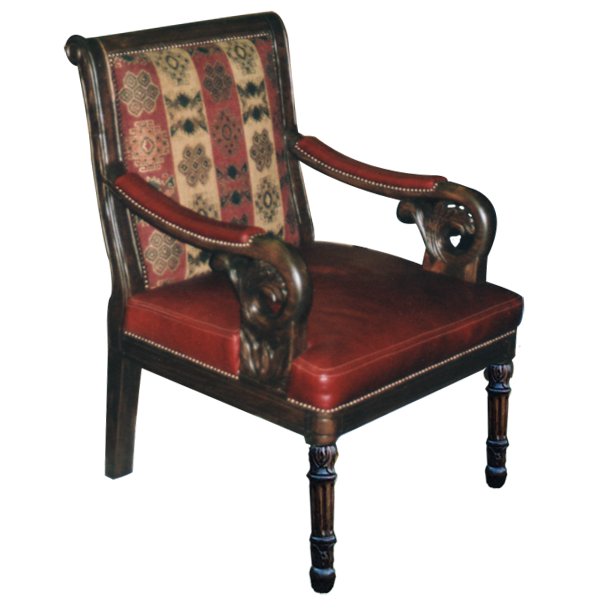 Western Fabric Hand Carved Upholstered Chairs chr13