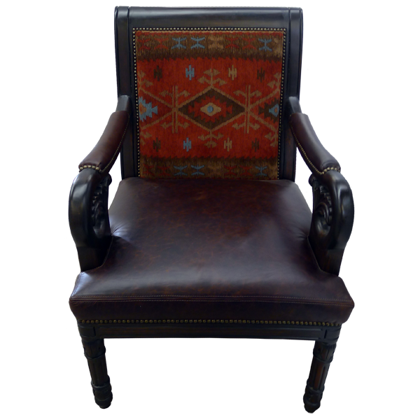 Western Leather Fabric Hand Carved Upholstered Chairs chr13a