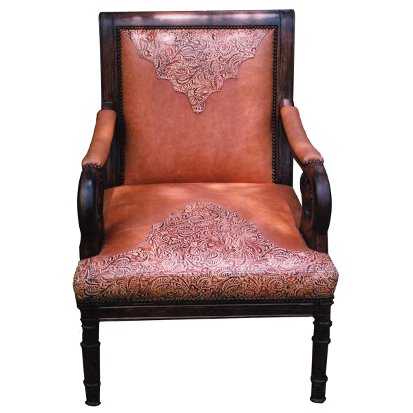 Western Leather Hand Carved Upholstered Chairs chr24