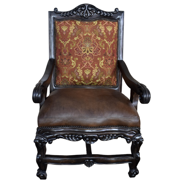 Spanish Colonial Leather Hand Carved Upholstered Chairs chr36a