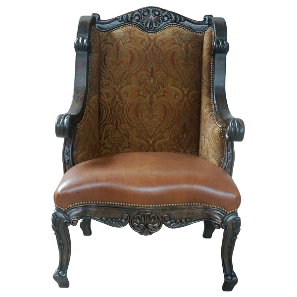 Western Leather Fabric Hand Carved Upholstered Chairs chr41b