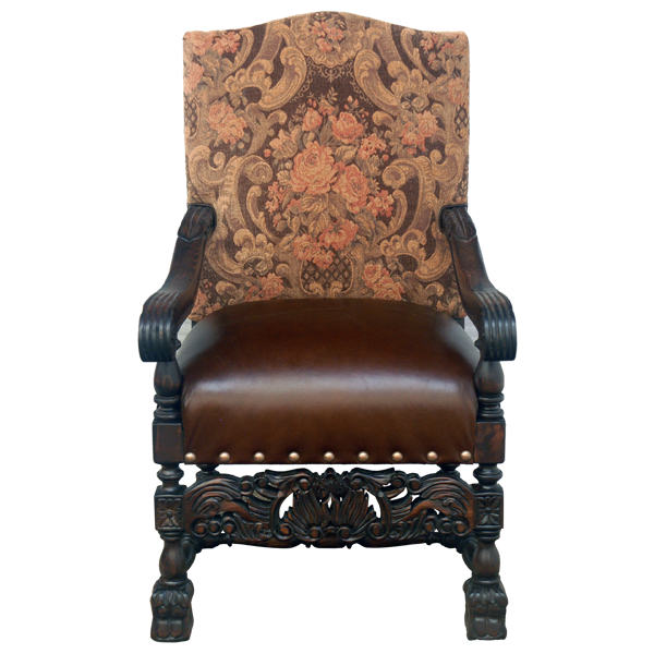 Spanish Colonial Leather Fabric Hand Carved Upholstered Chairs chr54a