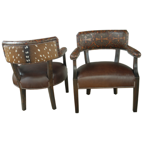 Spanish Colonial Leather Hand Carved Chairs chr69e