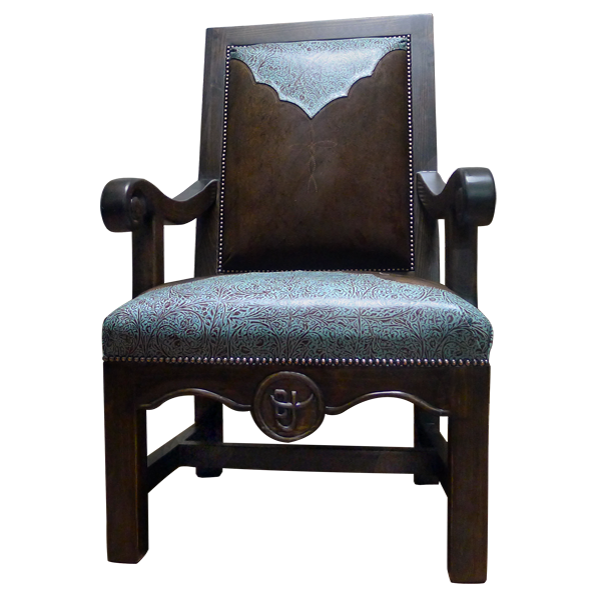 Western Leather Hand Carved Upholstered Chairs chr78